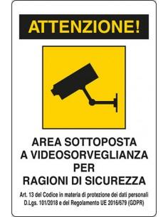 Cartello area sottoposta a videosorveglianza - 120x180 mm - alluminio - 2201