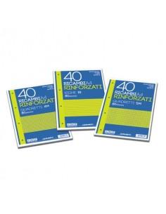 Ricambi rinforzati Blasetti in carta bianca usomano con 4 fori rinforzati in plastica 80 g/m² A4 10M conf.40 - 2335