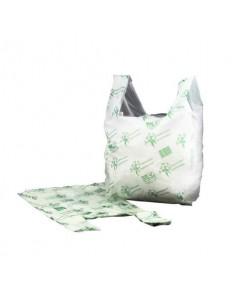 Shopper NESSUNO in mater-bi biodegradabile verde 27+7,5+7,5x50 cm cartone da 500 pz - 21381