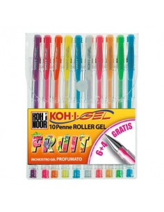 Penne gel colori profumati KOH-I-NOOR 0,7mm assortiti conf.10 - NAGP10F