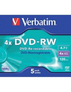 DVD-RW Verbatim Jewel Case 4.7 GB - velocità di scrittura 4x conf. da 5 - 43285