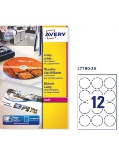 Etichette permanenti Avery Ø 60 mm bianco lucido Laser 12 et./foglio Conf. 25 fogli - L7790-25