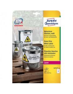 Etichette permanenti in poliestere Avery 99,1x67,7 mm bianco Laser 8 et./foglio Conf. 20 fogli - L4715-20