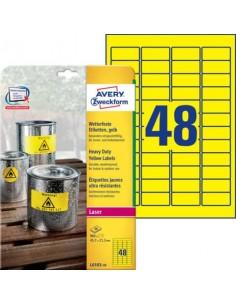 Etichette permanenti in poliestere Avery 45,7x21,2 mm giallo Laser 48 et./foglio Conf. 20 fogli - L6103-20