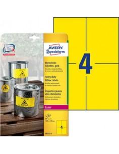Etichette permanenti in poliestere Avery 105x148 mm giallo Laser 4 et./foglio Conf. 20 fogli - L6132-20