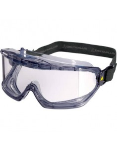 Occhiali a maschera in policarbonato Delta Plus ventilazione indiretta montatura PVC/nylon trasparente -GALERVI