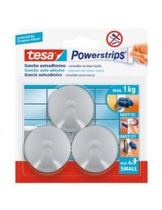 Ganci tesa Powerstrips small tondi biadesivi in plastica opaco-cromato 57578-00001-01