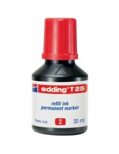 Inchiostro permanente per ricarica edding T 25 rosso - 30 ml 4-T25002