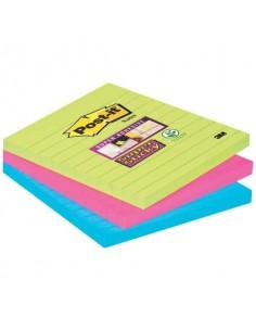 Foglietti Post-it® Super Sticky Note a righe assortiti conf. 3 blocchetti da 70 ff - 675-3SSMX EU
