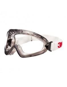 Occhiali a mascherina di protezione 3M 2890S, lente trasparente in PC (AS/AF), a tenuta di gas, banda elastica