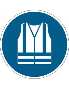 """Pittogramma da pavimento """"Gilet di sicurezza alta visibilità obbligatorio'' Durable azzurro Ø 430 mm - 173506"""