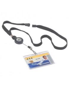 Chiocciole portabadge YO-YO Durable rotonde in plastica con cordoncino nero 822301