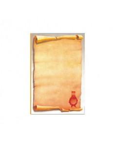 Carta pergamenata Decadry a tema Classic Collection con sigillo avorio Conf. 25 fogli - T036634
