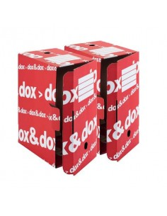Scatola archivio Dox & Dox dorso 17,5 cm bianco/rosso 1600174