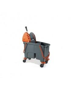 Carrello pulizia industriale Perfetto factory Duetto - con strizzatore e 2 vasche grigio/arancio - 26730
