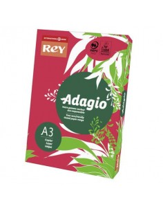 Carta colorata A3 INTERNATIONAL PAPER Rey Adagio rosso intenso 22 risma 500 fogli - ADAGI080X678