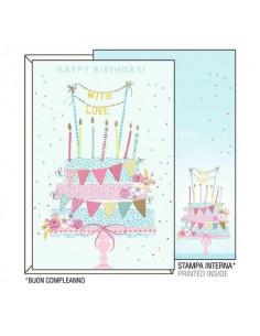 """Biglietti augurali Kartos """"Buon Compleanno"""" torta con festoni 07312302A"""