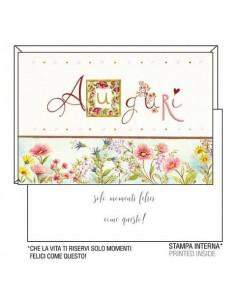 """Biglietti augurali Kartos """"Auguri"""" fiori rosa e lilla 07548001B"""