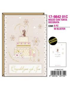 "Biglietti augurali Kartos ""Nozze"" torta decorata oro e rilievo 17984201C"