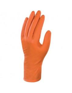 Guanti monouso Delta Plus Veniplus arancio 27 cm nitrile non talcato taglia 9/10 Conf.50 pezzi - V150009