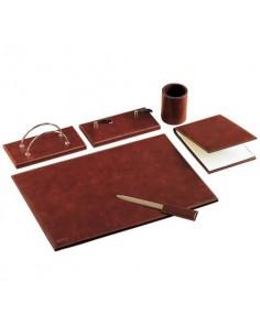 Set da scrivania classico Munari in similpelle bruciato 6 pezzi - 22028MU2300