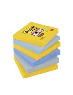 Foglietti riposizionabili Post-it® Super Sticky New York 76x76 mm giallo oro, ortensia e grigio cf 6 pz - 654-6SS- NY