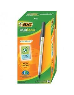 Penne ecologiche con cappuccio BIC Round Stic ECOlutions 1 mm nero Conf. 60 pezzi - 8932392