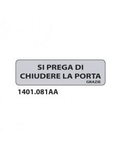 """Cartello adesivo """"Si prega di chiudere la porta grazie'' 17x4,5 cm Dixon Industries cf. 15 pz - 1401.081AA"""