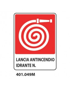 "Cartello Antincendio ""Lancia antincendio idrante N°"" 25x31 cm Dixon Industries 401.049M"