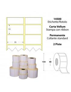 Rotolo da 14500 etichette - 35x13 - My Label - Carta Vellum - d.i. 40 d.e. 154- adesivo permanente - neutra bianca - gap 3,039