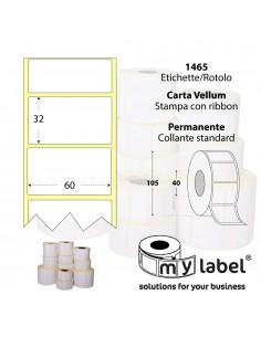 Rotolo da 1465 etichette - 60x32 - My Label - Carta Vellum - d.i. 40 d.e. 105 - adesivo permanente - neutra bianca - gap 2,108