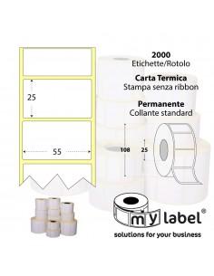 Rotolo 2000 Etichette - 55X25 mm - Termica - Diam. int. 25 mm - Diam. Est. 108 mm