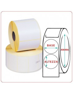 Etichette adesive in rotoli - 90X90 mm - Termica - Tonda - Anima ¯ mm 25 - 40 - 50 - 76