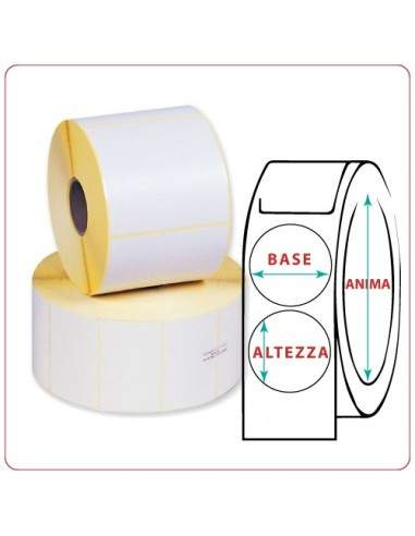 Etichette adesive in rotoli - 50X50 mm - Vellum - Tonda - Anima Ø mm 25 - 40 - 50 - 76