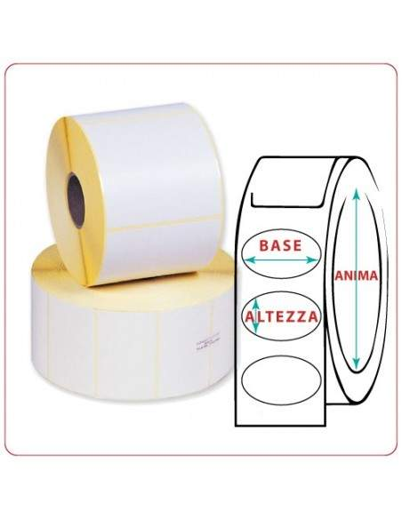 Etichette adesive in rotoli - 107x85 mm - Termica - Ovale - Anima Ø mm 25 - 40 - 50 - 76