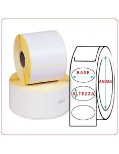 Etichette adesive in rotoli - 80X110 mm - Vellum - Ovale - Anima Ø mm 25 - 40 - 50 - 76