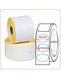 Etichette adesive in rotoli - 107x85 mm - Vellum - Ovale - Anima Ø mm 25 - 40 - 50 - 76