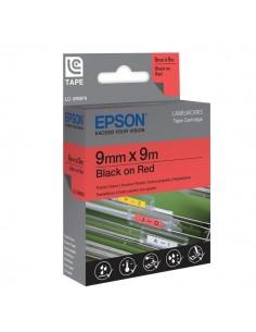 Nastro per etichettatrice LC Epson - 9 mm x 9 m - rosso/bianco - C53S624407
