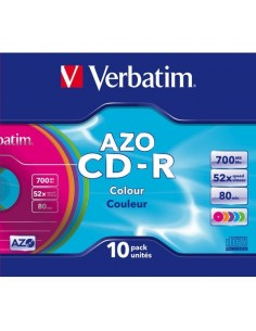 CD Verbatim - CD-R - Slim case - 52x - AZO Colours - 43308 (conf.10)