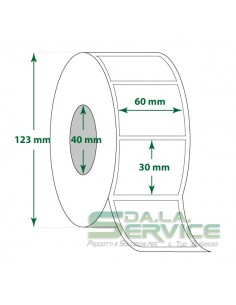 Rotolo 2000 Etichette - 60X30 mm - Termica - Diam. int. 40 mm - Diam. Est. 123 mm
