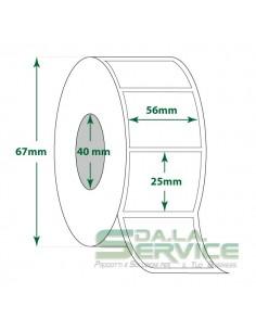 Rotolo 500 Etichette - 56X25 mm - Termica Protetta - Diam. int. 40 mm - Diam. Est. 67 mm