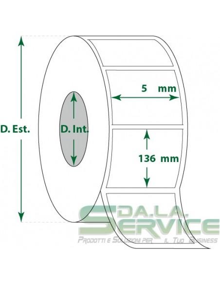 Etichette adesive in rotoli - f-to. 5X136 mm (bxh) - Termica