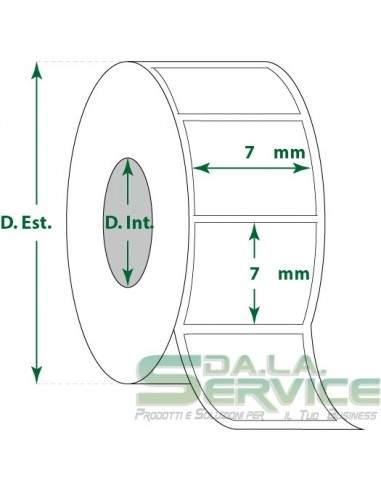 Etichette adesive in rotoli - f-to. 7X7 mm (bxh) - Termica