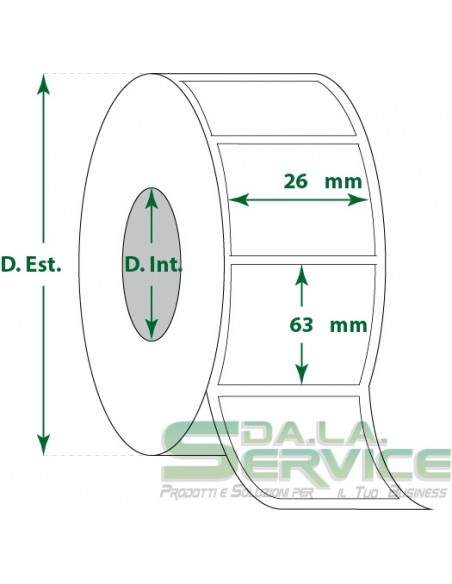 Etichette adesive in rotoli - f-to. 26X63 mm (bxh) - Termica