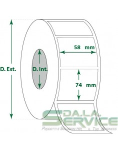 Etichette adesive in rotoli - f-to. 58X74 mm (bxh) - Termica