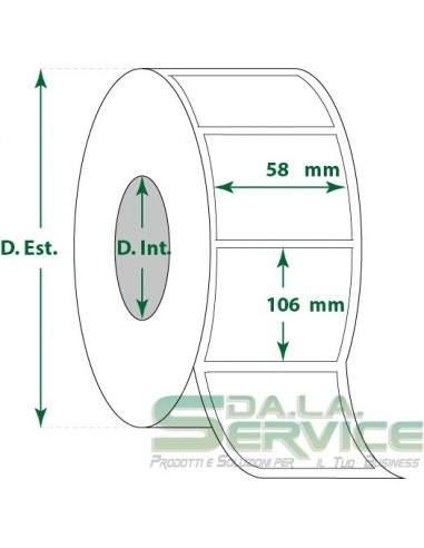 Etichette adesive in rotoli - f-to. 58X106 mm (bxh) - Termica