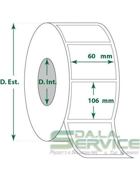 Etichette adesive in rotoli - f-to. 60X106 mm (bxh) - Termica