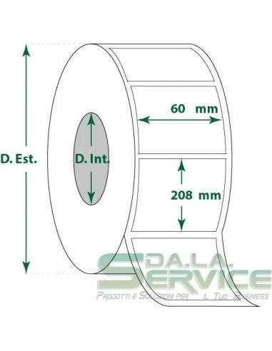 Etichette adesive in rotoli - f-to. 60X208 mm (bxh) - Termica