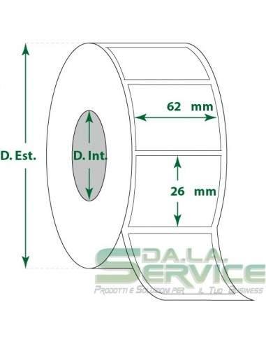 Etichette adesive in rotoli - f-to. 62X26 mm (bxh) - Termica
