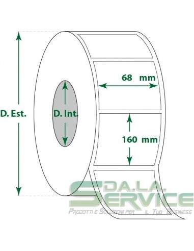 Etichette adesive in rotoli - f-to. 68X160 mm (bxh) - Termica